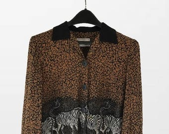 Long Sleeve button up Animal Print Inspired