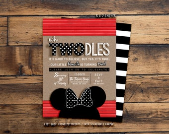 Oh TWOdles Minnie Mouse Birthday Invitation (Digital File or Prints with Envelopes) (FREE Shipping) (ALL Wording can be changed)