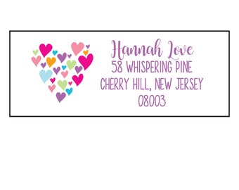 80 Personalized Monogram Printed Return Address Labels ~ Purple Candy Heart