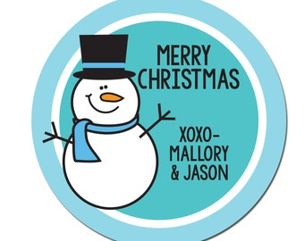 to and from christmas gift stickers personalized round etsy