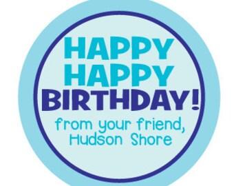 happy birthday gift labels personalized 12 round rainbow etsy