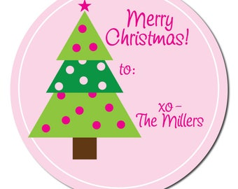 Christmas Joy stickers Customized round labels Mitten JOY gift labels Winter holiday labels L-12 Personalized holiday stickers