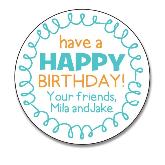 Birthday Gift Stickers Personalized Happy Labels