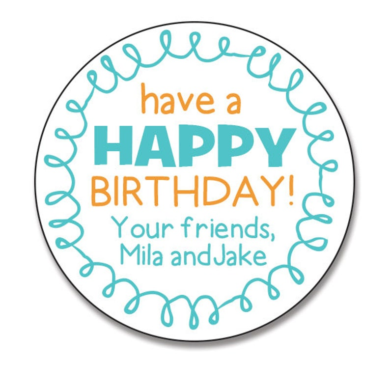 Birthday Gift Stickers Personalized Happy Labels Teal And Orange Favors