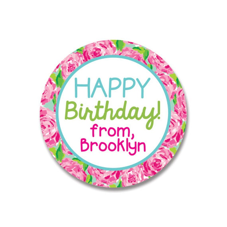 Girl Birthday Gift Stickers Personalized Happy