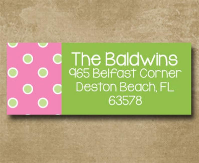 Polka Dot Return Address Labels Pink and Green Preppy Mailing Labels Custom Address Labels Personalized Address Labels