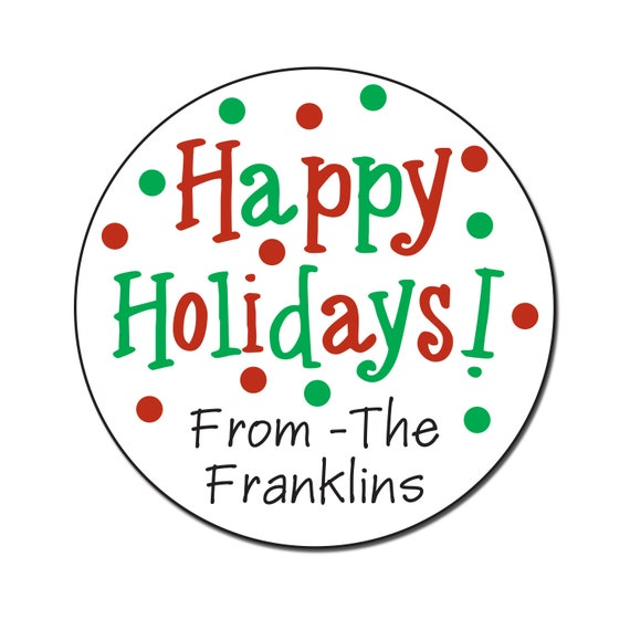 happy holiday stickers personalized christmas labels gift etsy