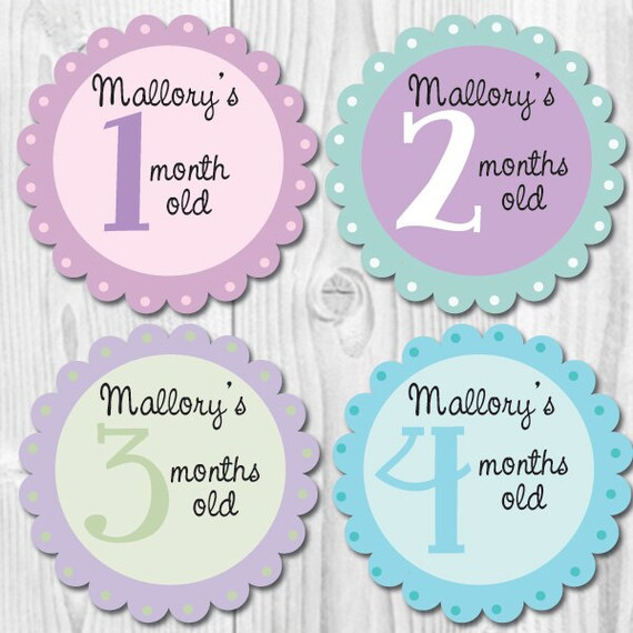 girl personalized monthly stickers baby monthly stickers etsy