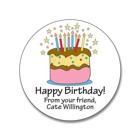 Happy Birthday Personalized Gift Stickers Custom