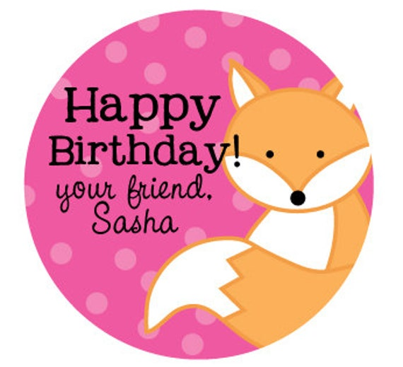 fox birthday stickers personalized gift labels for birthday etsy