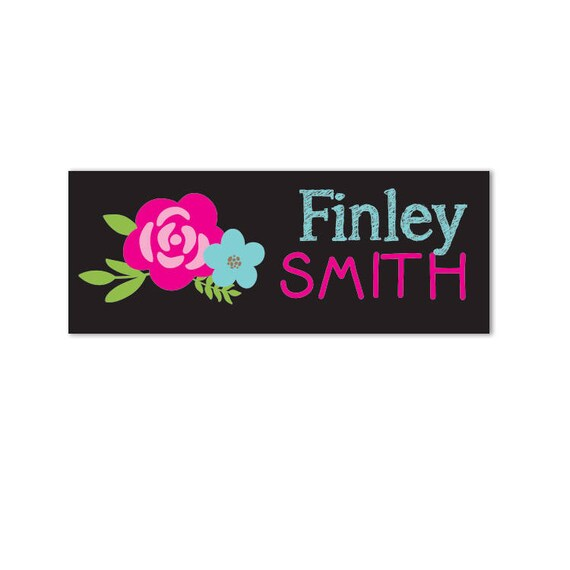 Name Labels, Waterproof Name Labels, Baby Bottle Labels, Daycare Labels,  School Name Labels, Waterproof, Flowers, Chalkboard, Camp Labels