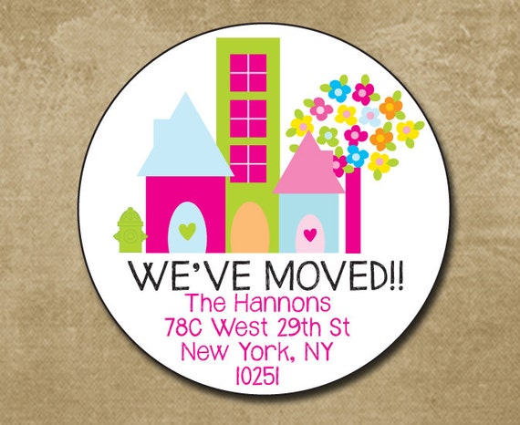 Weve moved round address label address stickers new home envelope seals moved to the city address labels personalized return label from chevronsmiles