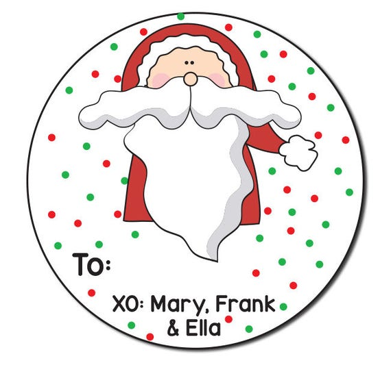 santa claus stickers round gift stickers holiday gift tags etsy