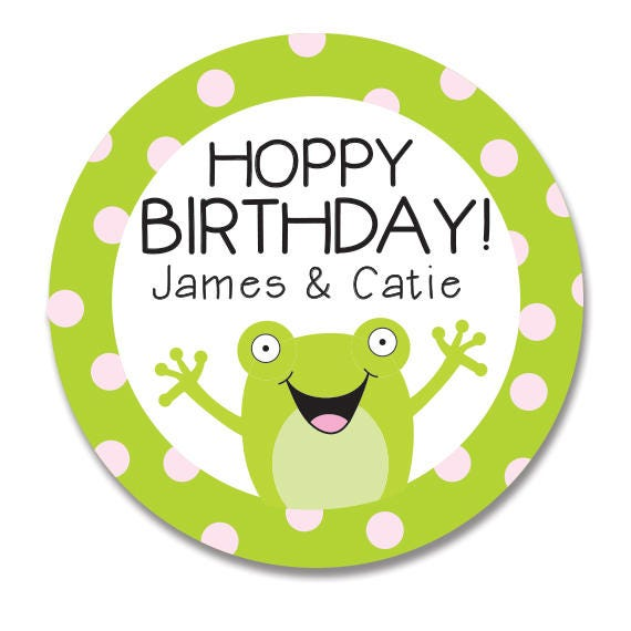 Frog gift stickers for birthday kids happy birthday round gift labels birthday favor tags for girl