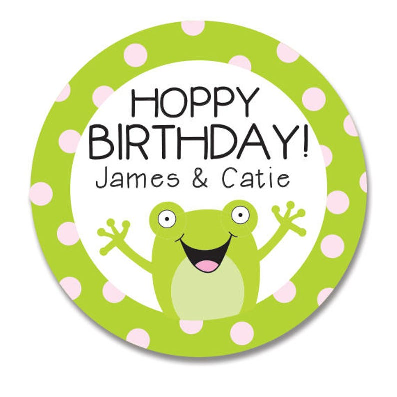 Frog Gift Stickers For Birthday Kids Happy Round