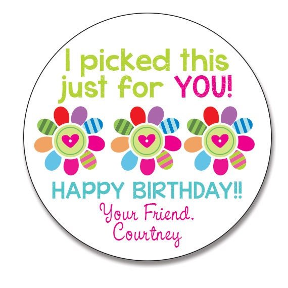 Flower Gift Sticker I Picked This For You Personalized Round