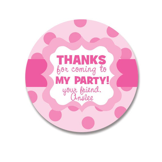 Happy Birthday Gift Labels Personalized Pink Polka Dot Stickers