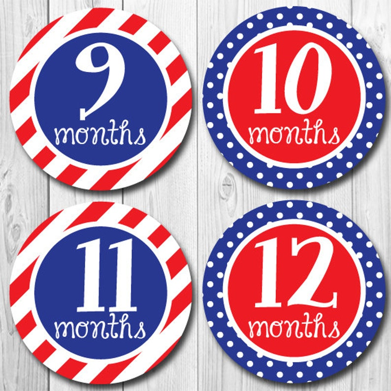 Monthly Baby Milestone Stickers Patriotic Stickers Baby First Year Stickers Baby Month Stickers Red White Blue Baby Shower Gift Baby Girl