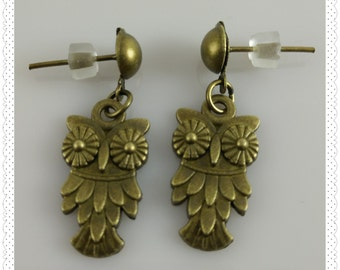 Bronze Owl Post Earrings