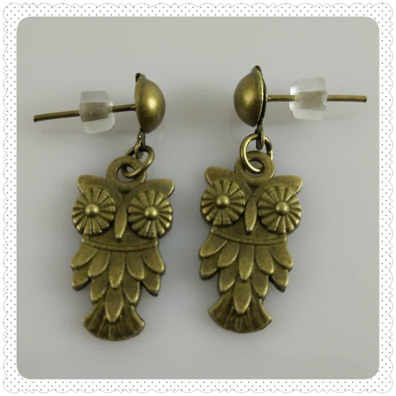 Bronze Owl Post Earrings image 0