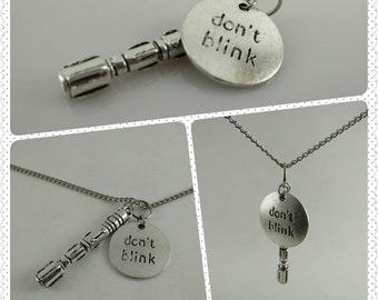 Don't Blink / Sonic Screwdriver Necklace Charm Bundle