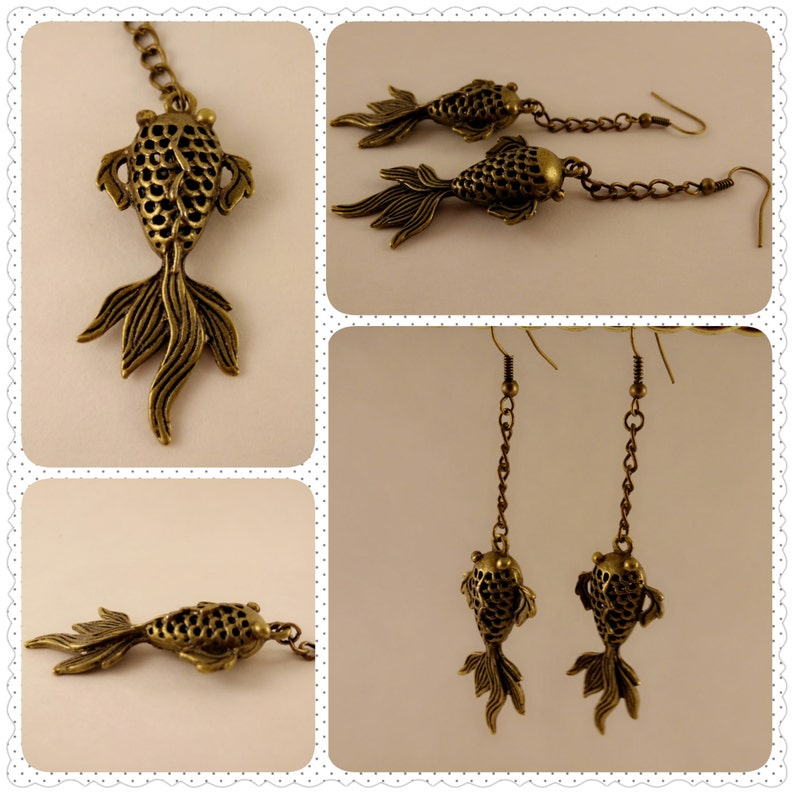 Koi Fish Dangle Wire Earrings image 0