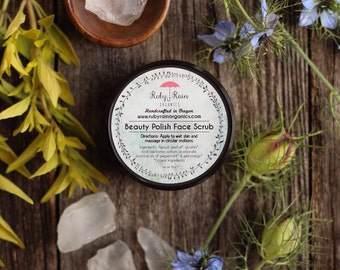 ORGANIC Face Scrub, Beauty Polish, gentle exfoliation, sensitive skin, combination skin, acne prone skin, gifts for her, gifts for mom