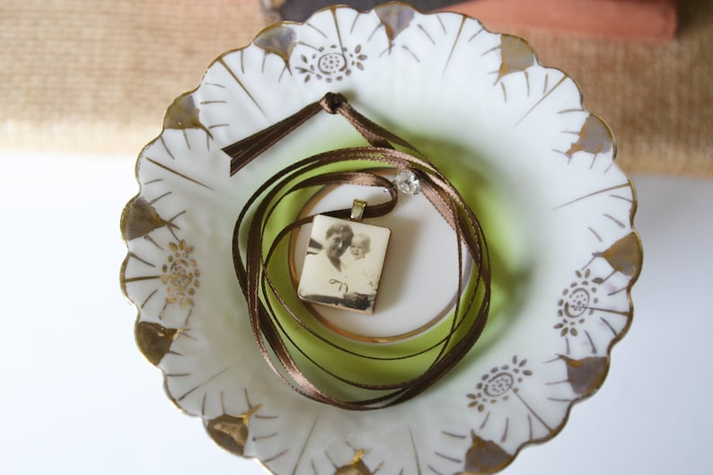 Lovely Junk Necklace Vintage Jewelry and Scrabble Photo Pendant Marvelous Mothers