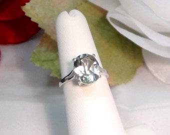 Solitaire Ring Select size. Larger Light green 11x9 Oval Prasiolite 925 Sterling Silver Elegant Natural Greened Amethyst  Prasiolite