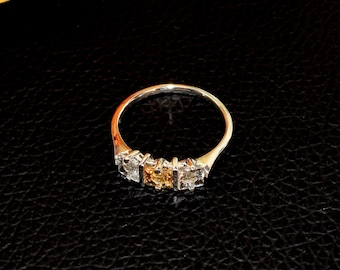 6ab4d727c7 Genuine Ouro Preto Brazil Imperial Topaz Ring. Princess Cut Imperial  Centerpiece with matching White Topaz Accents. Premium Sterling Silver.