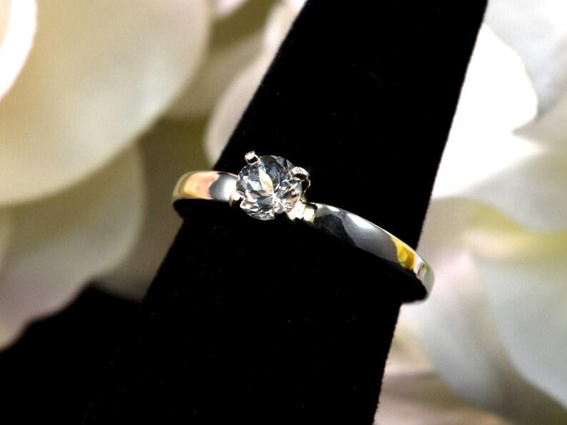 Premium Sterling Silver Band Wonderfully Cut Light Blue Aquamarine Solitaire Ring Diamond Cut 5mm Sizable. Natural Brazilian Gem
