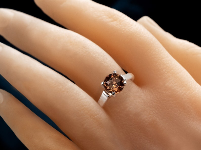 Silver Cathedral Style Solitaire Ring Round 8mm Brazilian Golden Yellow Orange VVS Champagne. Unique Natural Imperial Topaz