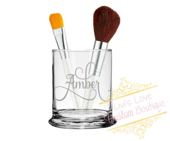 Personalized Etched Glass Makeup Brush Holder Make Up