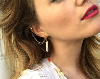 ear cuff gold- ear cuff silver- quartz jewellery- crystal quartz earring- body jewellery- ear cuff chain- ear cuff pierced- single earring