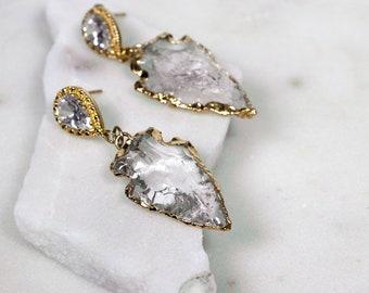 Raw Crystal Drop Earrings - Crystal Arrowhead - Gold Dipped Earrings - Boho Earrings - Bridal Earrings - Dangle Earrings - Statement Jewelry
