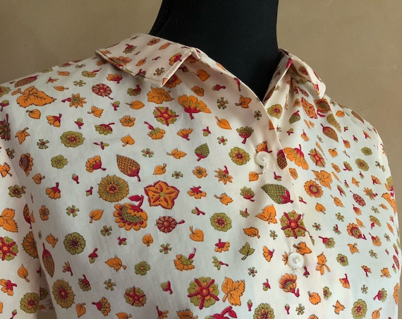 Vintage 50's Fall leave print blouse