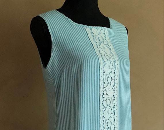 Vintage 60's Dress - Flapper Style - Blue & White Stripes