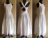 Gunne Sax White Cotton Dress Jessica McClintock - size 7 vintage 80 39 s