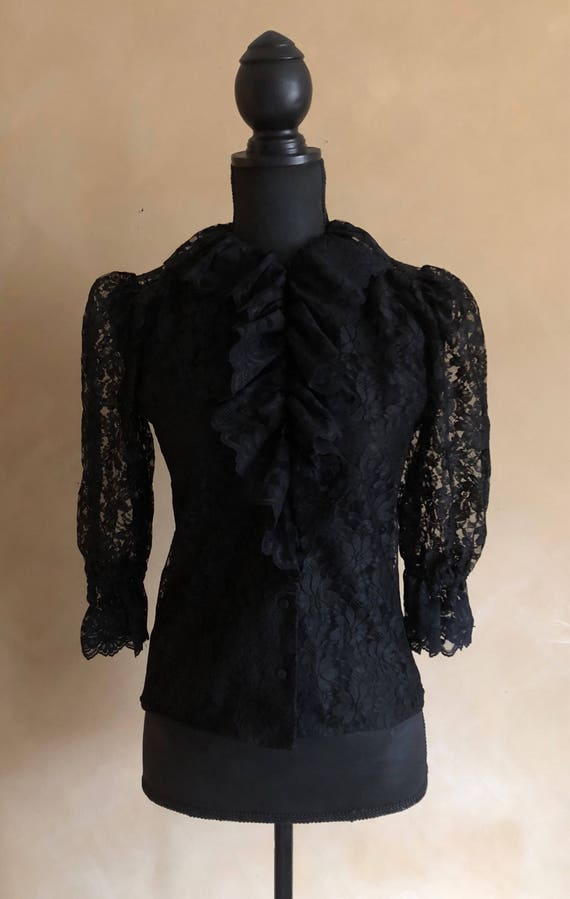 Black Lace Blouse Ruffled Vintage 80's