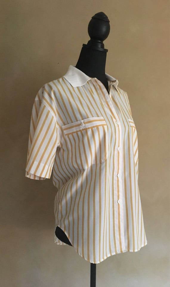 Vintage 80's Yellow Striped Reed Hunter Blouse