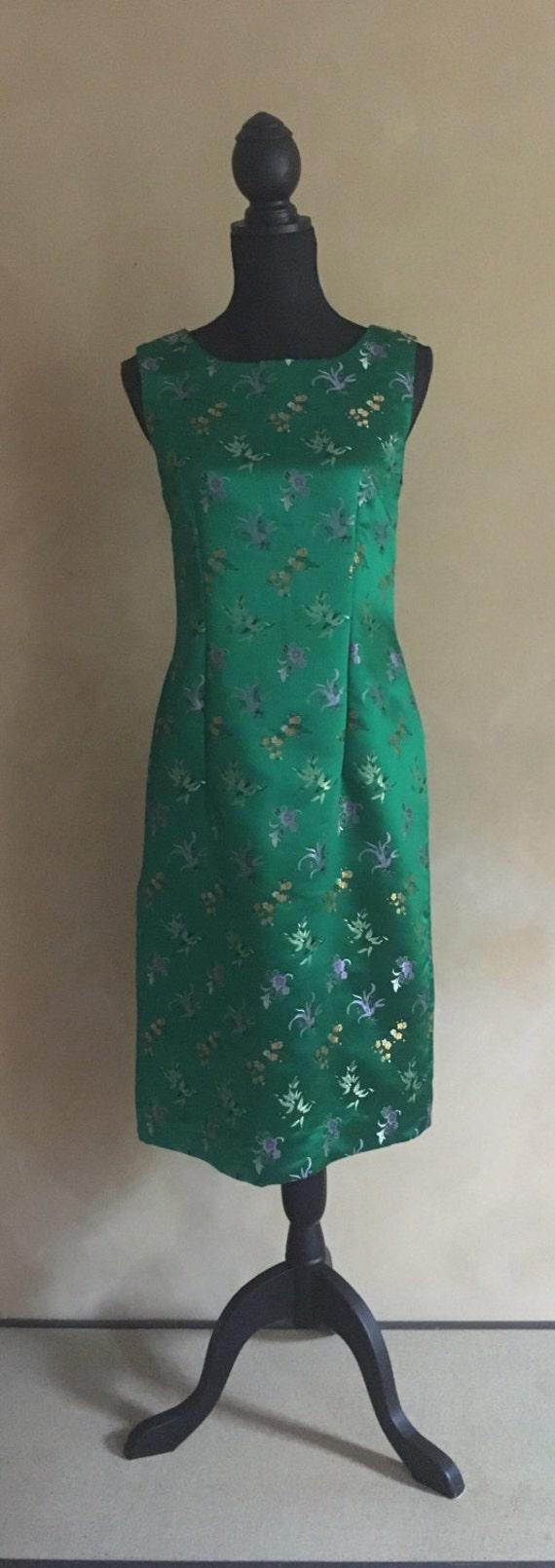 Satin Dress Vintage 1960's Green Brocade Shift Dress