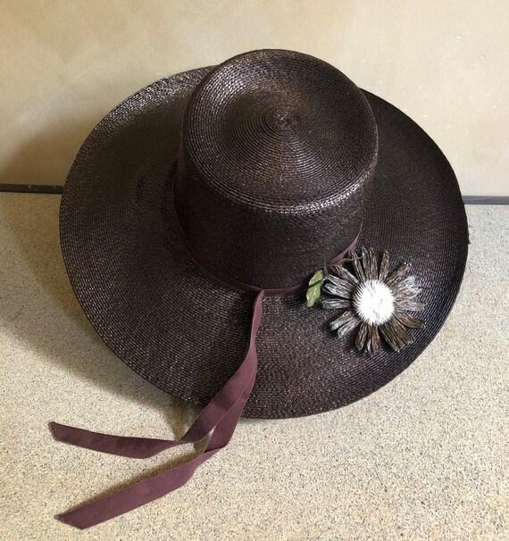 Vintage straw hat / wide brimmed / Saks 5th Avenue