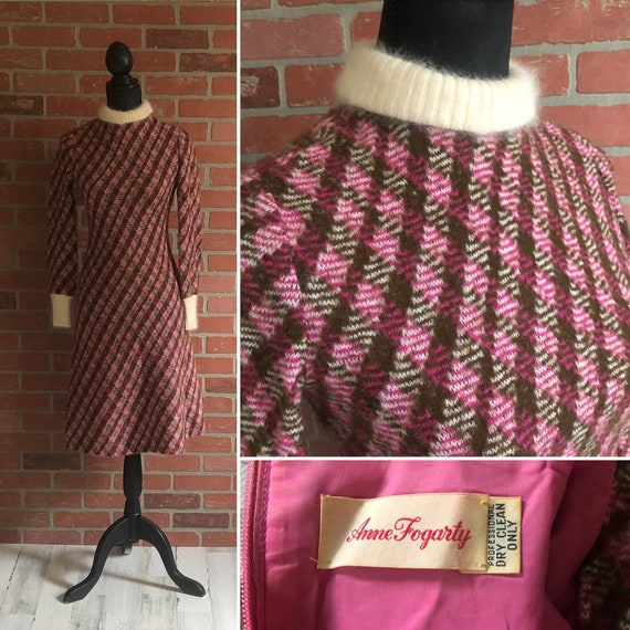 Vintage 1960's Argyle print Dress ~ Anne Fogarty