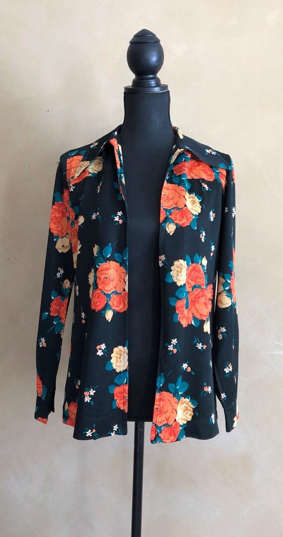 Vintage Floral Blazer - oversized collar with brig