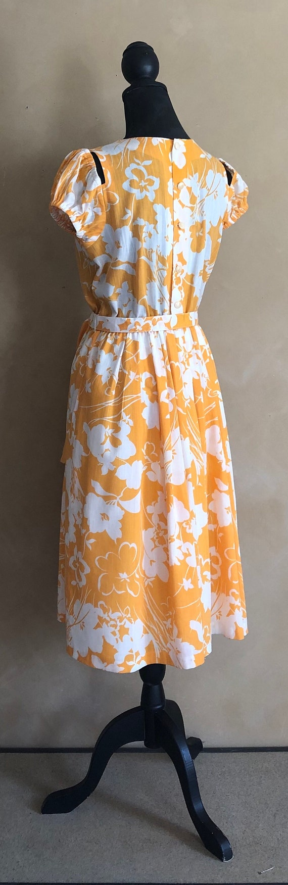 Vintage 70's Marigold  Yellow Floral Dress - image 3