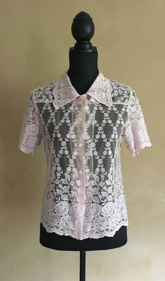 Vintage Sheer Lace Blouse - Light Rose Pink