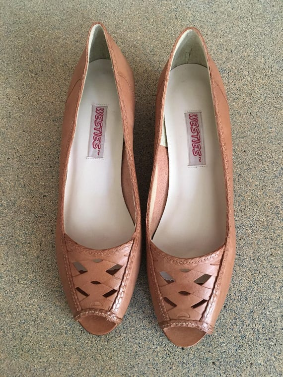 Slip Leather 2 70's 8 Vintage heel low on Brazil made Westies in narrow 1 wedge E4qxFU