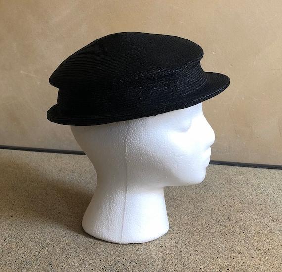 Vintage Black Straw Hat 1950's