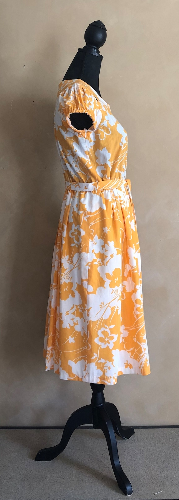 Vintage 70's Marigold  Yellow Floral Dress - image 6