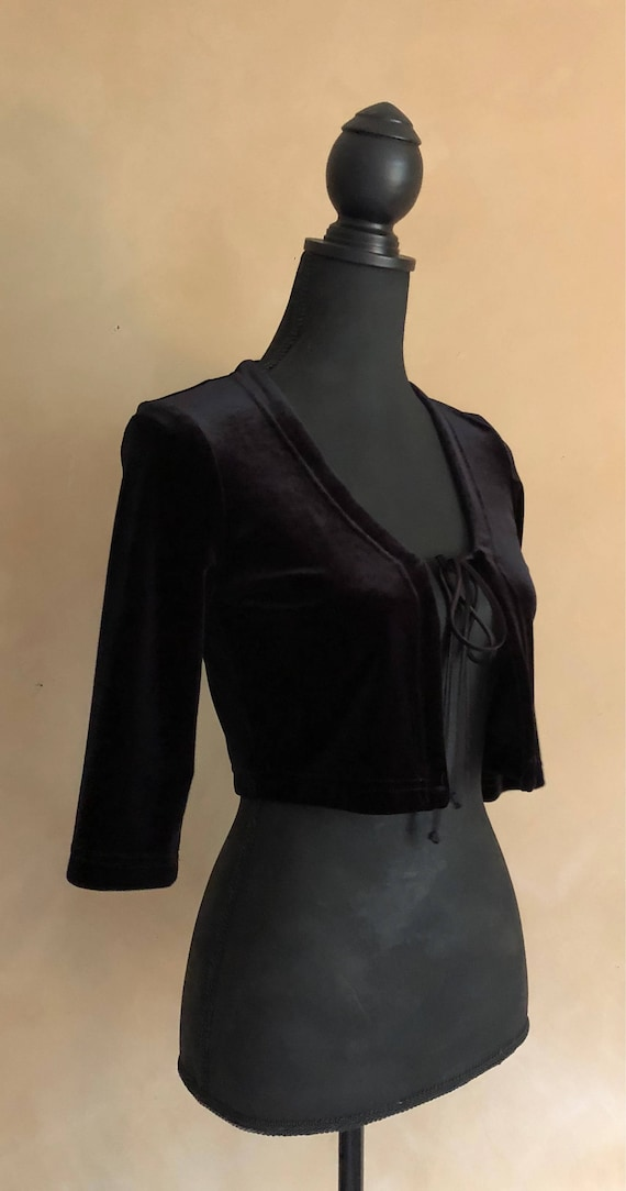 Velvet Bolero Jacket - crop top vintage 80's